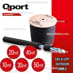 QPORT Q-cat02 UTP 23awg 0.58mm Dış Ortam CAT6