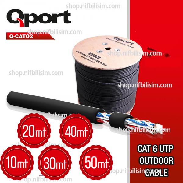 QPORT Q-cat02 UTP 23awg 0.58mm Dış Ortam CAT6