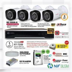 Retro Dahua 2mp 1080P 8 Kameralı HD-CVI Full Set 1TB