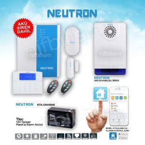 Neutron NTA-GNA8540 Alarm Seti Akü Kablolu Siren Dahil Set